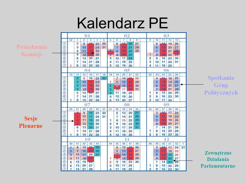 Kalendarz PE Sesje Plenarne Posiedzenia Komisji Zewnętrzne Działania Parlamentarne Spotkania Grup Politycznych