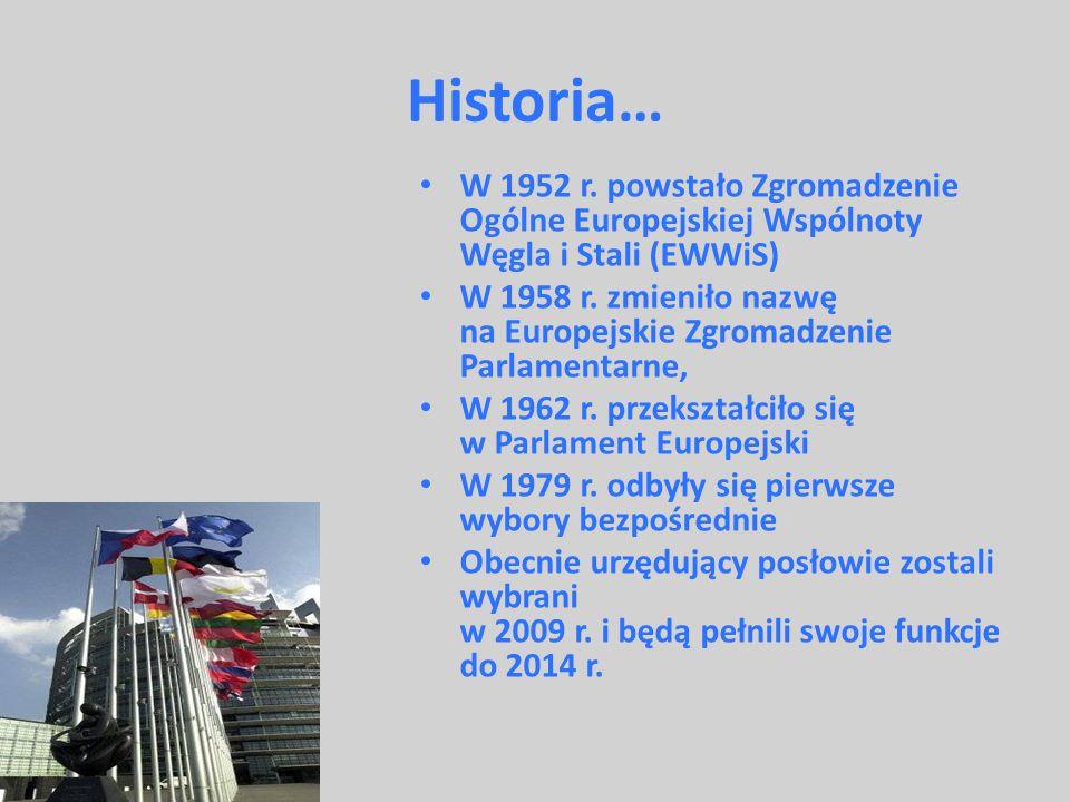 Historia… W 1952 r. powstało Zgromadzenie Ogólne Europejskiej Wspólnoty Węgla i Stali (EWWiS) W 1958 r. zmieniło nazwę na Europejskie Zgromadzenie Par