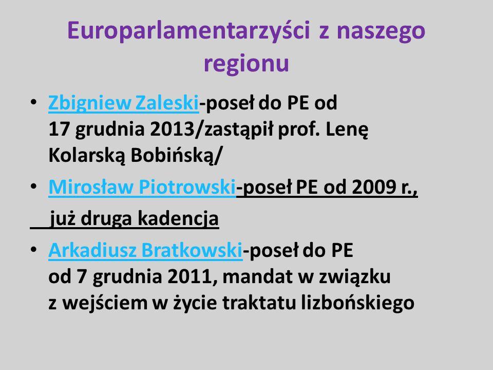 Europarlamentarzyści z naszego regionu Zbigniew Zaleski-poseł do PE od 17 grudnia 2013/zastąpił prof. Lenę Kolarską Bobińską/ Zbigniew Zaleski Mirosła