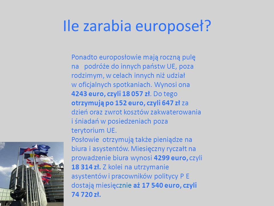 Ile zarabia europoseł? Ponadto europosłowie mają roczną pulę na podróże do innych państw UE, poza rodzimym, w celach innych niż udział w oficjalnych s