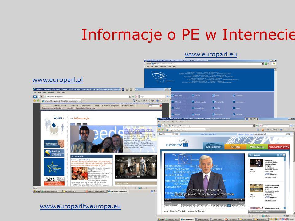 Informacje o PE w Internecie www.europarl.eu www.europarl.pl www.europarltv.europa.eu