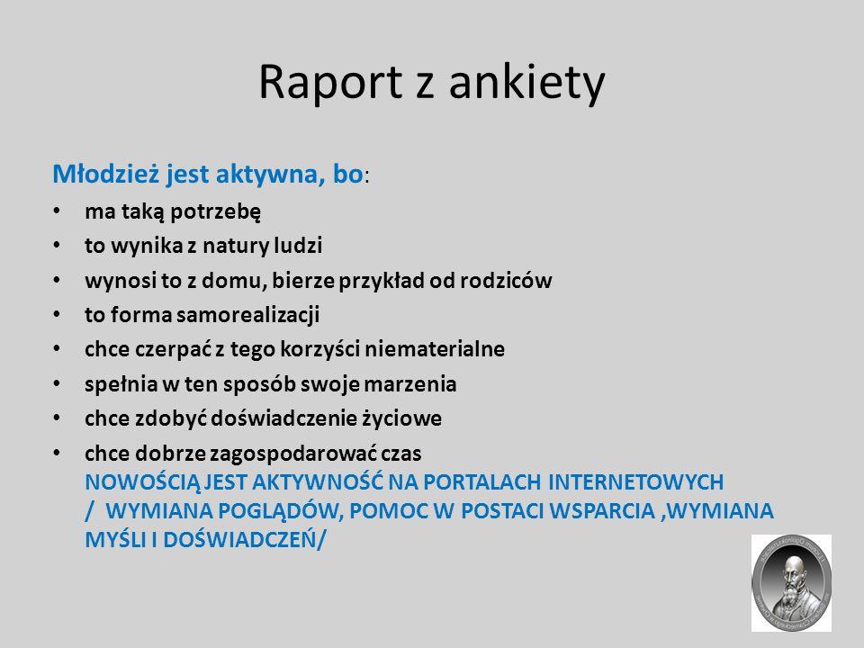 Raport z ankiety Czarniecczycy są aktywni poprzez: sport oraz udział w licznych konkursach i olimpiadach.