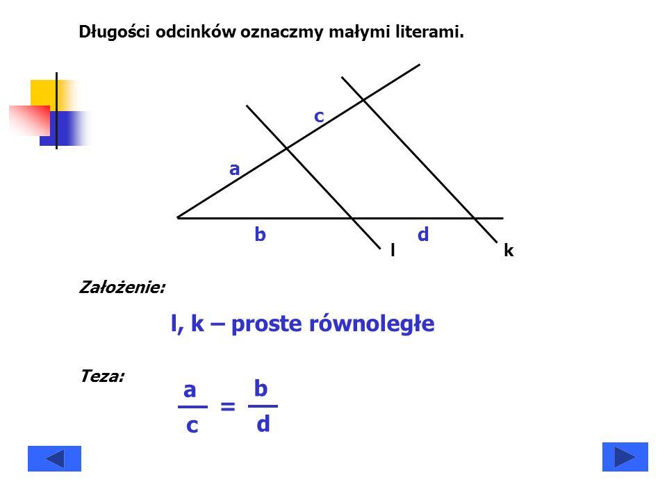 A B C DE a b c d h1h1 Trójkąty ADB i DEB mają wspólną wysokość h 1.