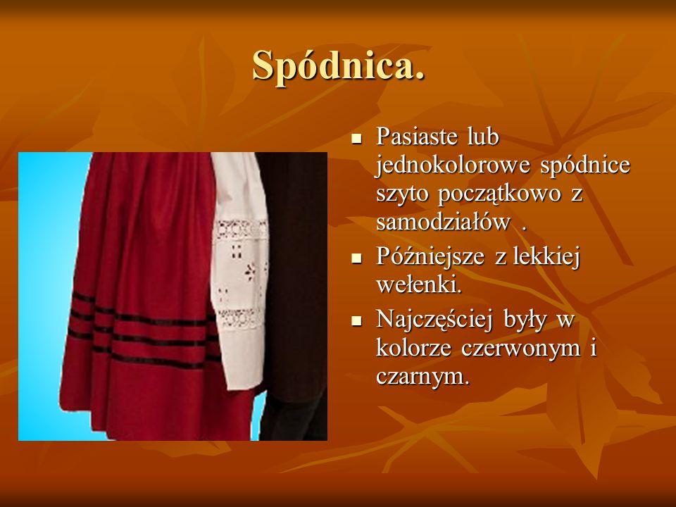 Spódnica. Pasiaste lub jednokolorowe spódnice szyto początkowo z samodziałów. Pasiaste lub jednokolorowe spódnice szyto początkowo z samodziałów. Późn