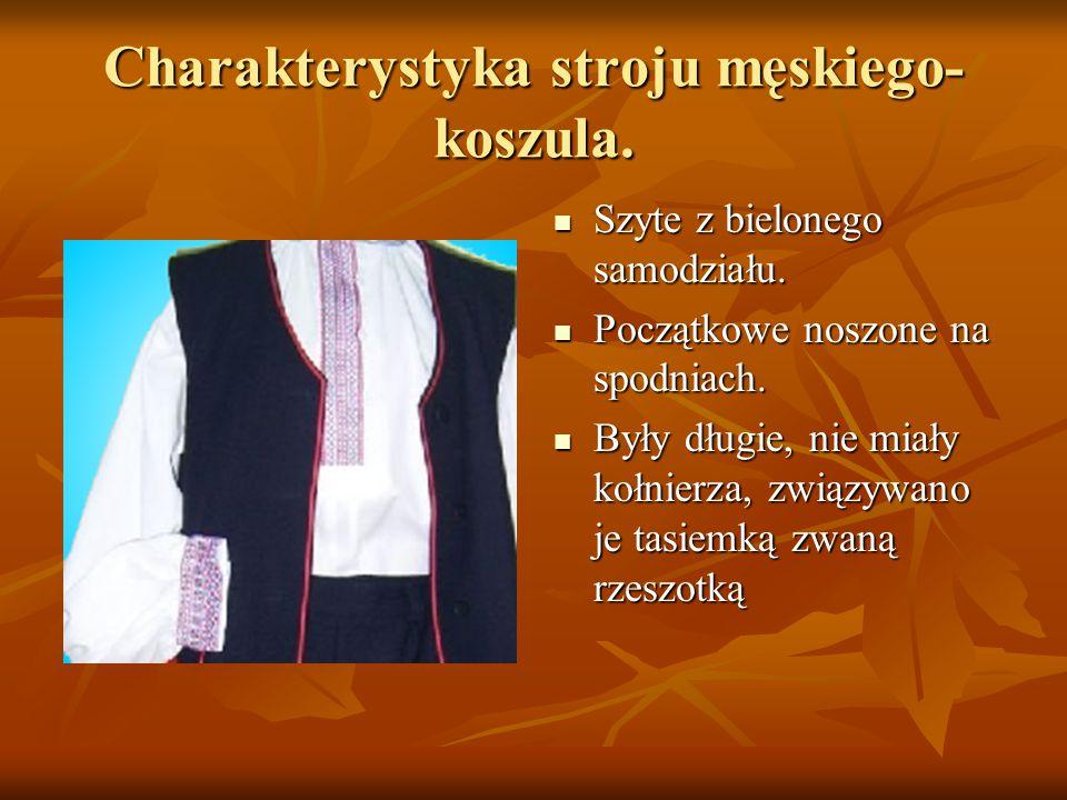 Charakterystyka stroju męskiego- koszula. Szyte z bielonego samodziału. Szyte z bielonego samodziału. Początkowe noszone na spodniach. Początkowe nosz