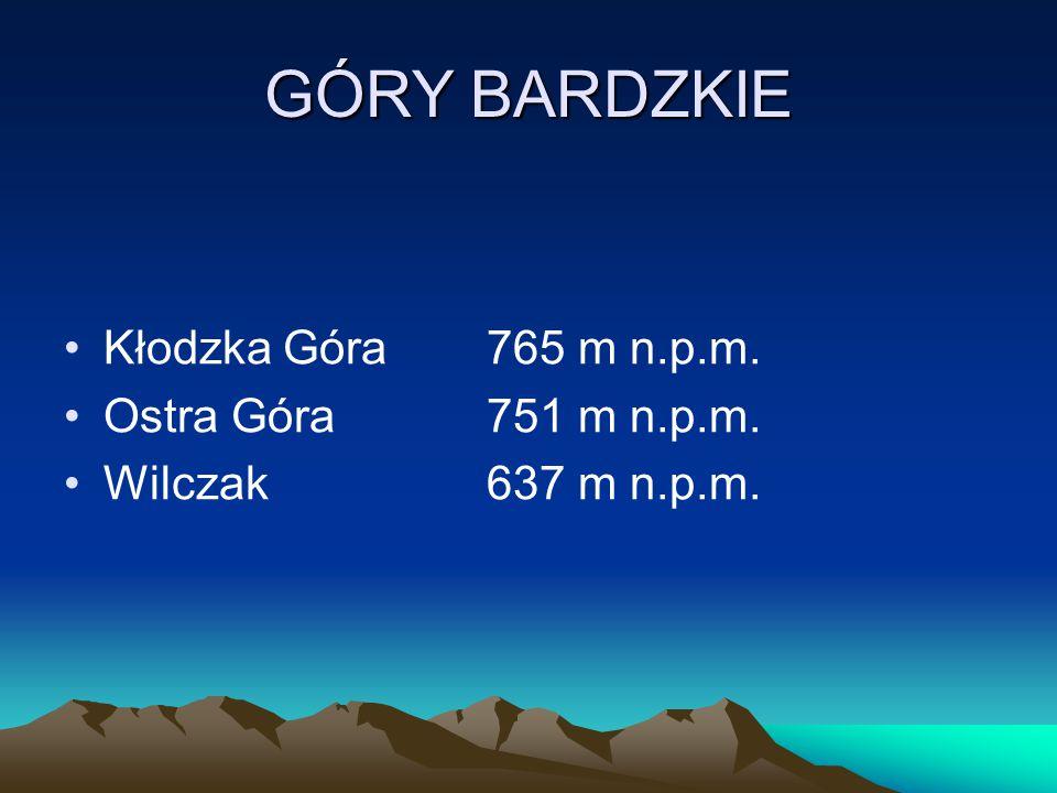 GÓRY BARDZKIE Kłodzka Góra765 m n.p.m. Ostra Góra751 m n.p.m. Wilczak637 m n.p.m.