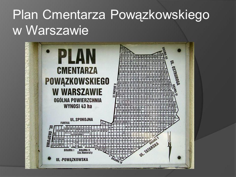 Plan Cmentarza Powązkowskiego w Warszawie