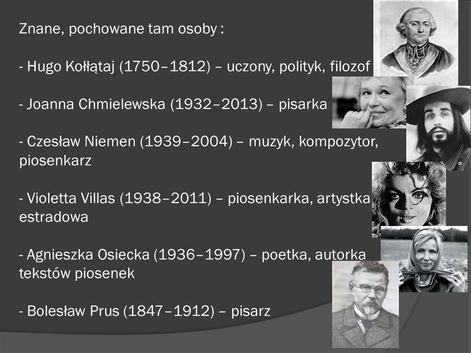 Znane, pochowane tam osoby : - Hugo Kołłątaj (1750–1812) – uczony, polityk, filozof - Joanna Chmielewska (1932–2013) – pisarka - Czesław Niemen (1939–