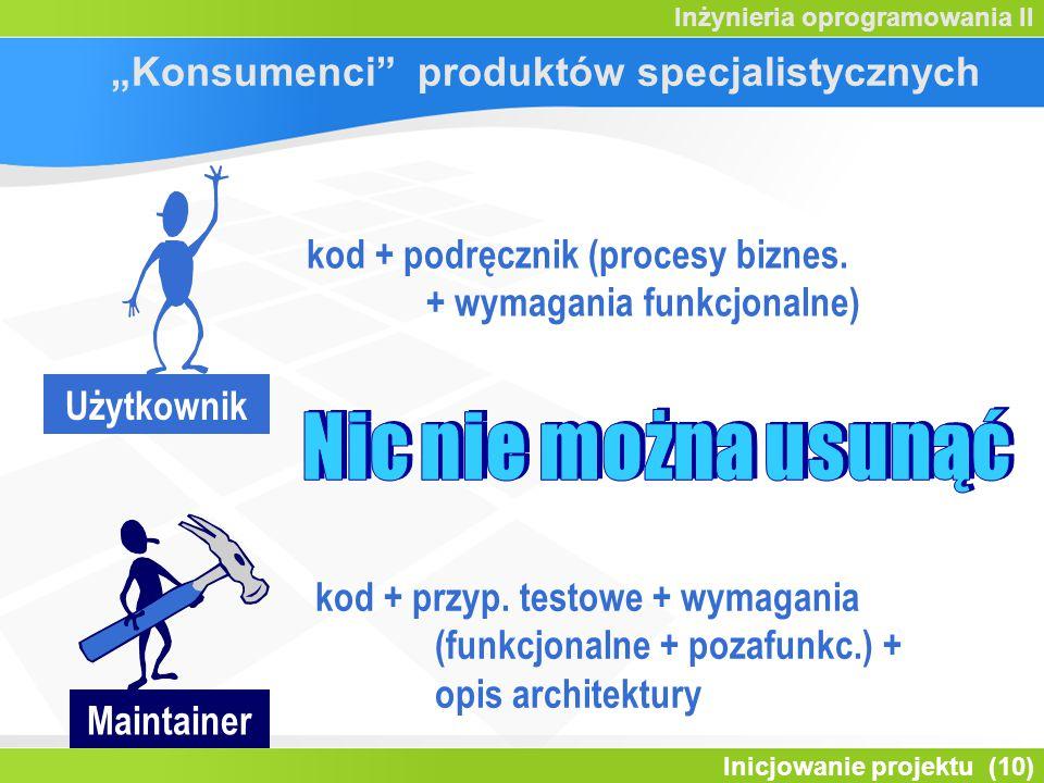 """Inicjowanie projektu (10) Inżynieria oprogramowania II """"Konsumenci"""" produktów specjalistycznych Użytkownik kod + podręcznik (procesy biznes. + wymagan"""