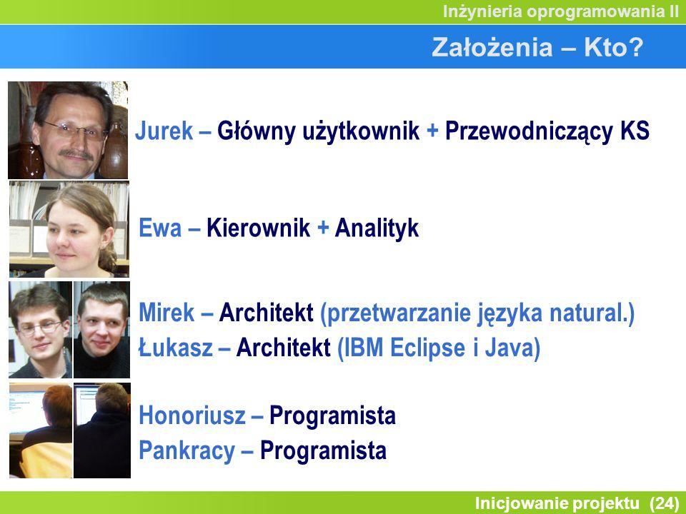 Inicjowanie projektu (24) Inżynieria oprogramowania II Założenia – Kto? Jurek – Główny użytkownik + Przewodniczący KS Ewa – Kierownik + Analityk Mirek
