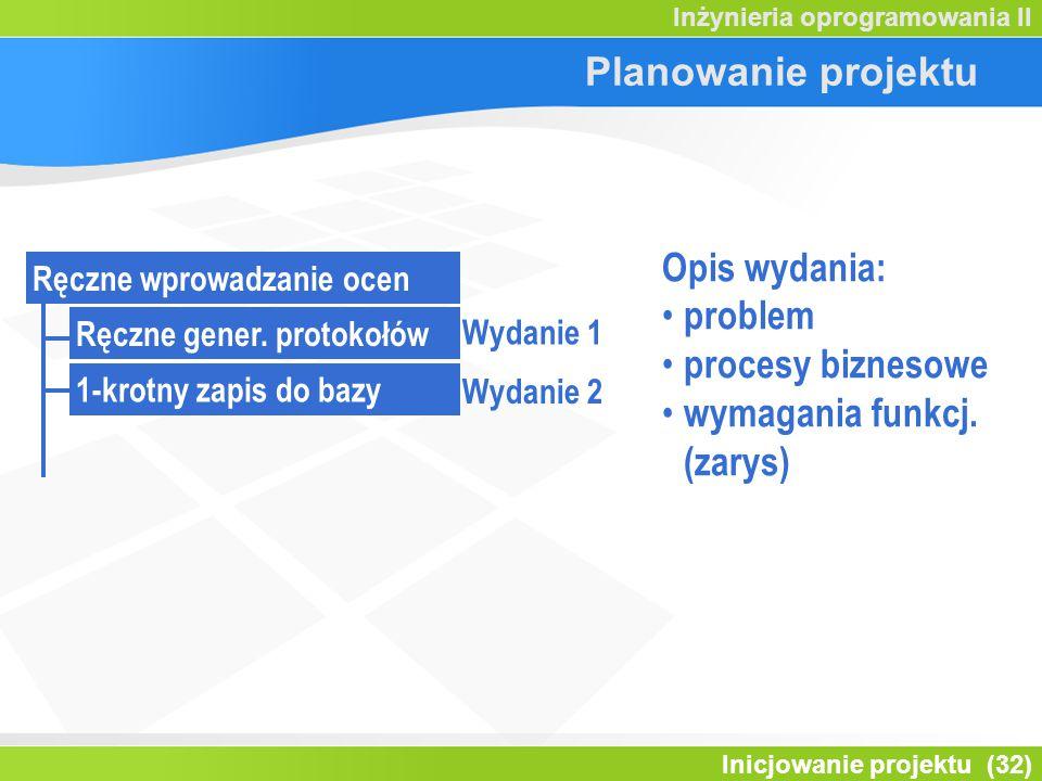 Inicjowanie projektu (32) Inżynieria oprogramowania II Planowanie projektu Ręczne wprowadzanie ocen Ręczne gener. protokołów 1-krotny zapis do bazy Wy