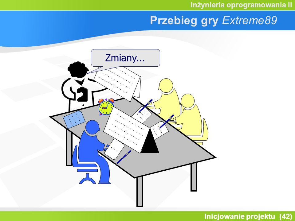 Inicjowanie projektu (42) Inżynieria oprogramowania II Przebieg gry Extreme89 Zmiany...