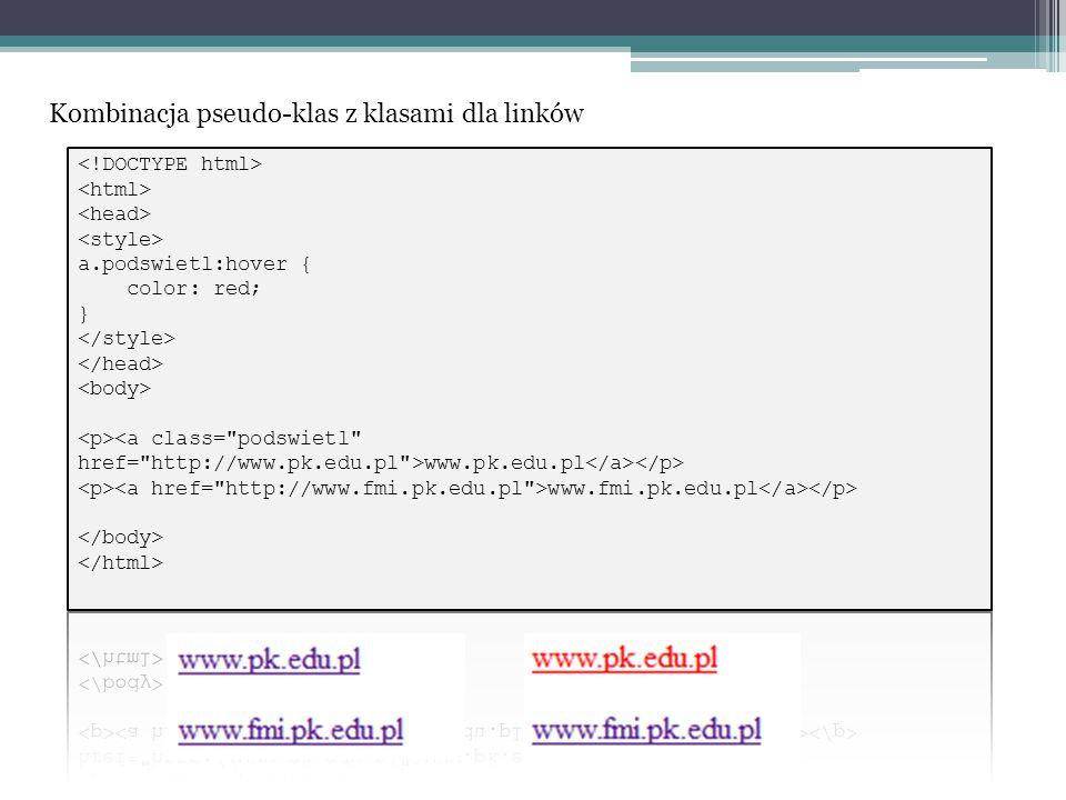 Kombinacja pseudo-klas z klasami dla linków