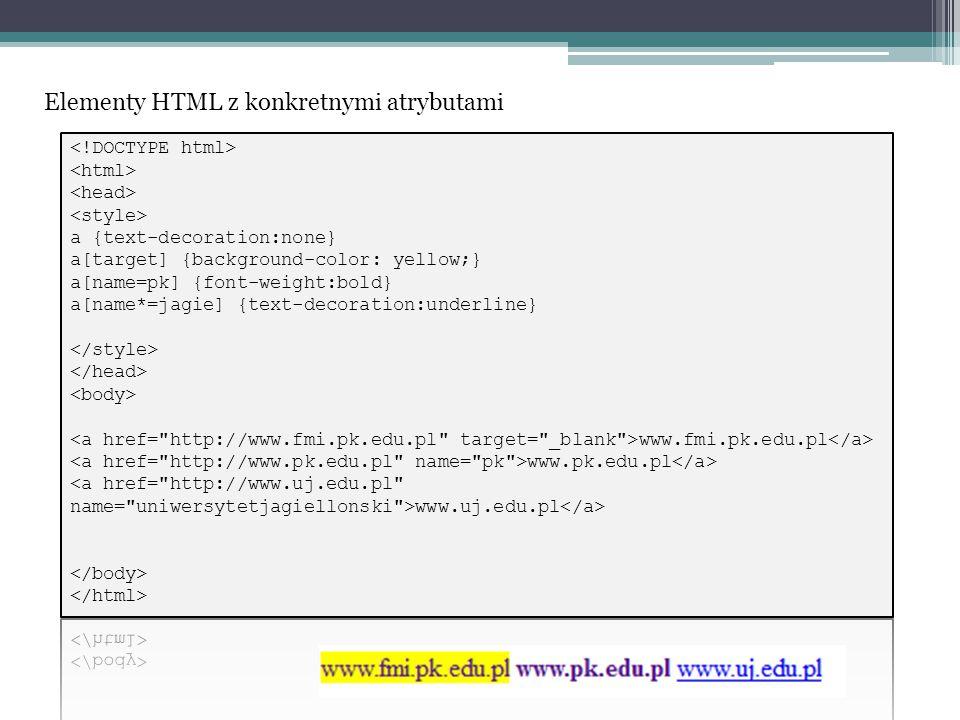 Elementy HTML z konkretnymi atrybutami