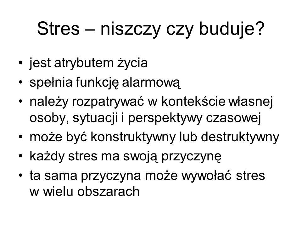 Stres – niszczy czy buduje? jest atrybutem życia spełnia funkcję alarmową należy rozpatrywać w kontekście własnej osoby, sytuacji i perspektywy czasow