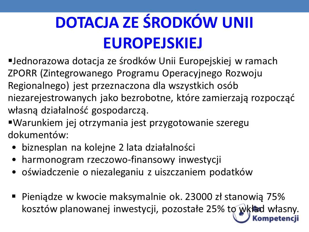 DOTACJA ZE ŚRODKÓW UNII EUROPEJSKIEJ  Jednorazowa dotacja ze środków Unii Europejskiej w ramach ZPORR (Zintegrowanego Programu Operacyjnego Rozwoju Regionalnego) jest przeznaczona dla wszystkich osób niezarejestrowanych jako bezrobotne, które zamierzają rozpocząć własną działalność gospodarczą.