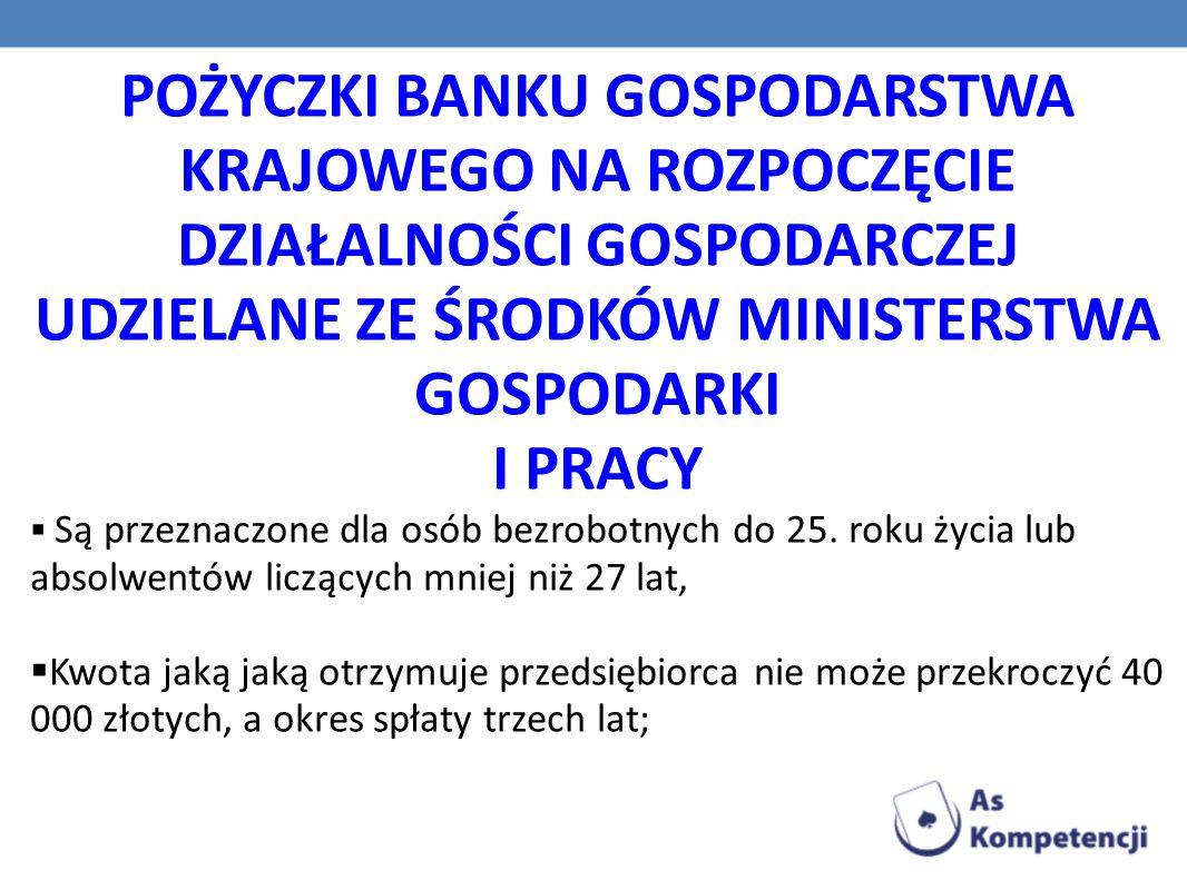 POŻYCZKI Z FUNDUSZY ROZWOJU PRZEDSIĘBIORCZOŚCI  W wysokości od 5000 do 20000 USD, wypłacane w złotówkach zgodnie ze średnim kursem dolara ustalonym przez Narodowy Bank Polski w dniu udzielenia pożyczki.