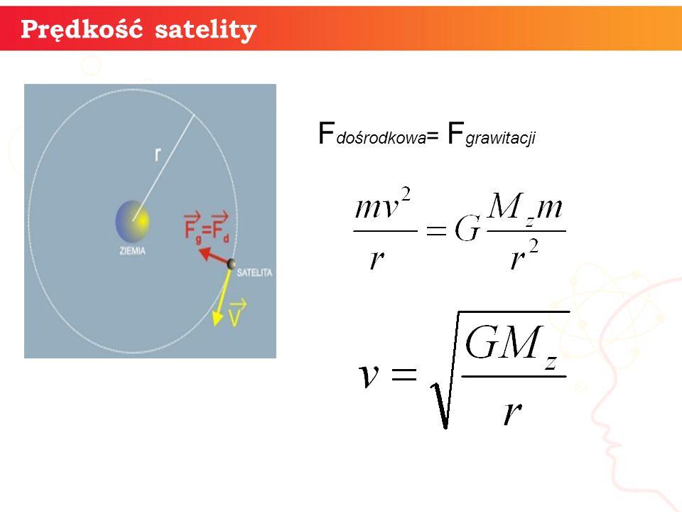 Prędkość satelity » F dośrodkowa = F grawitacji »