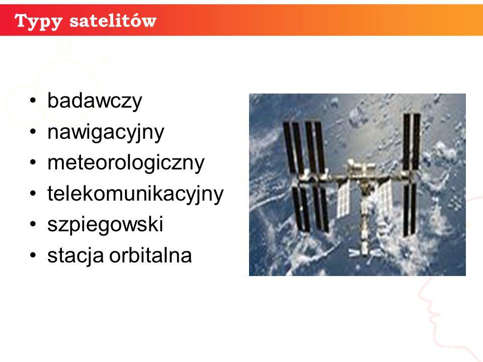 informatyka + 6 Typy satelitów badawczy nawigacyjny meteorologiczny telekomunikacyjny szpiegowski stacja orbitalna