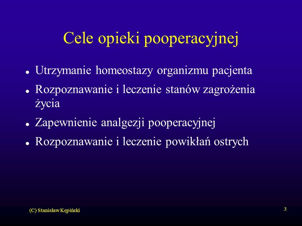 (C) Stanisław Kępiński 3 Cele opieki pooperacyjnej Utrzymanie homeostazy organizmu pacjenta Rozpoznawanie i leczenie stanów zagrożenia życia Zapewnien