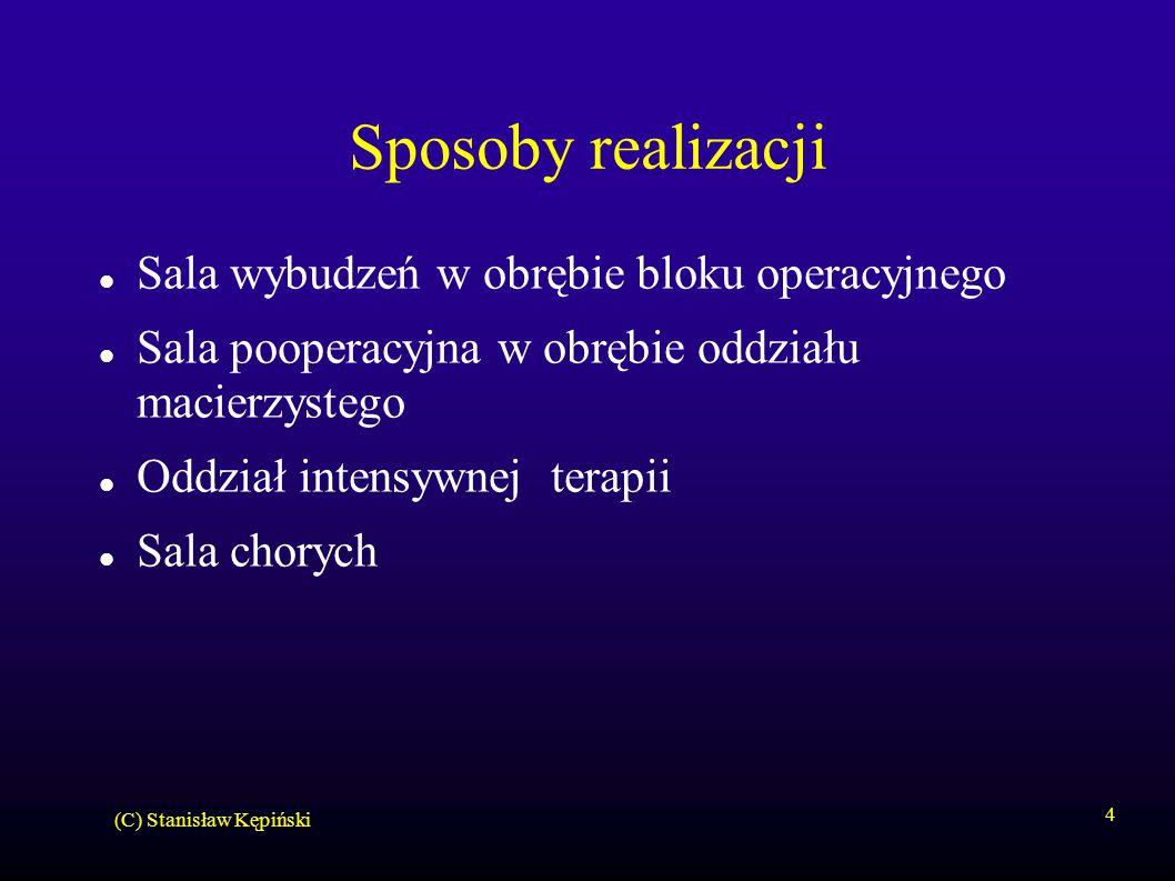 (C) Stanisław Kępiński 4 Sposoby realizacji Sala wybudzeń w obrębie bloku operacyjnego Sala pooperacyjna w obrębie oddziału macierzystego Oddział intensywnej terapii Sala chorych