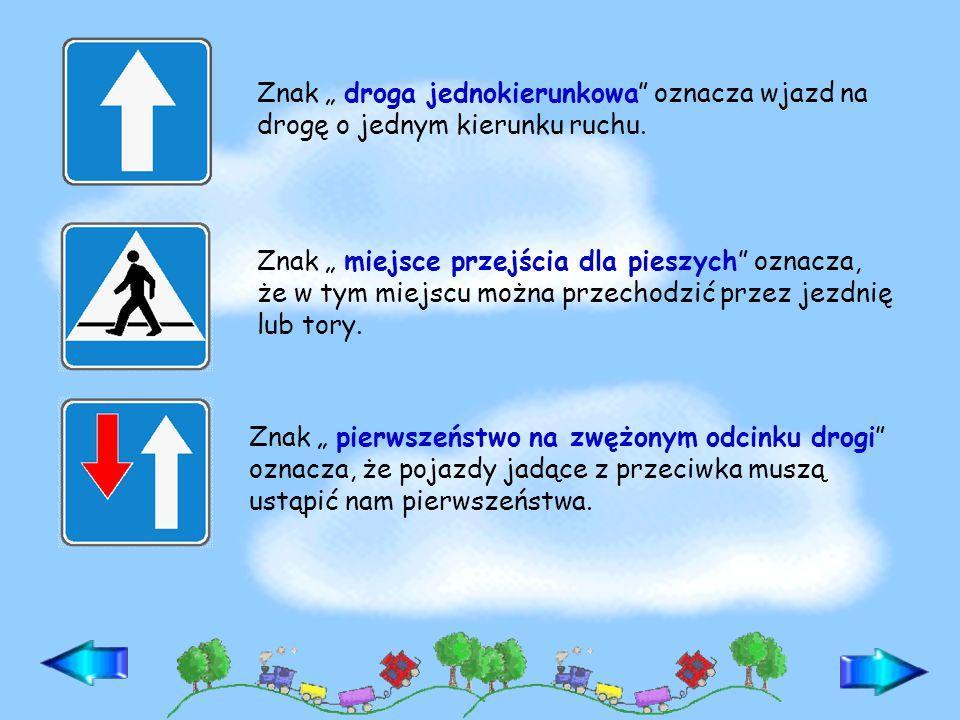 Znaki informacyjne podają pieszym i kierującym pojazdom wiadomości o drogach i uporządkowaniu ruchu drogowego, a także wskazują obiekty znajdujące się przy drodze lub w jej pobliżu.