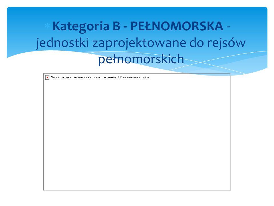  Kategoria B - PEŁNOMORSKA - jednostki zaprojektowane do rejsów pełnomorskich