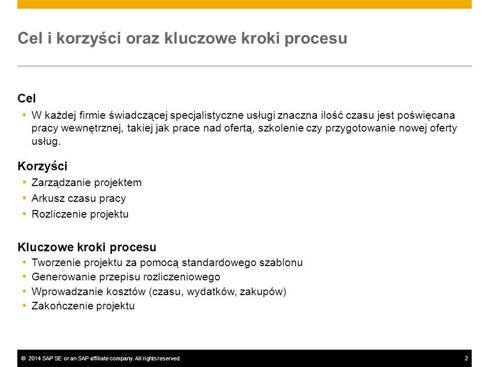 ©2014 SAP SE or an SAP affiliate company. All rights reserved.2 Cel i korzyści oraz kluczowe kroki procesu Cel  W każdej firmie świadczącej specjalis