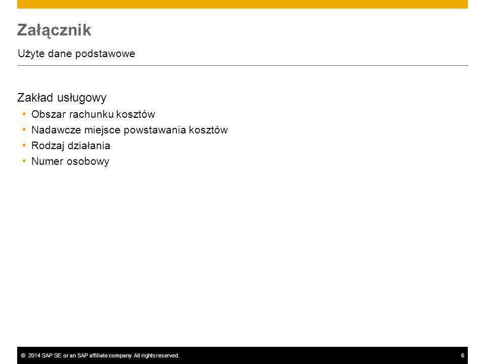 ©2014 SAP SE or an SAP affiliate company. All rights reserved.6 Załącznik Użyte dane podstawowe Zakład usługowy  Obszar rachunku kosztów  Nadawcze m