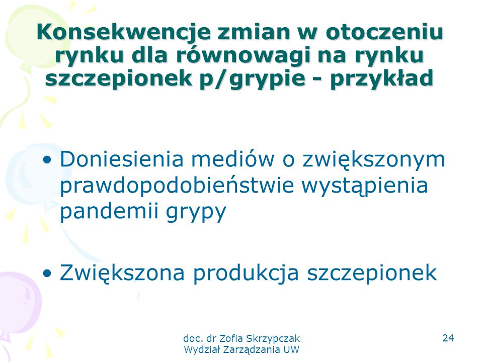 doc. dr Zofia Skrzypczak Wydział Zarządzania UW 24 Konsekwencje zmian w otoczeniu rynku dla równowagi na rynku szczepionek p/grypie - przykład Doniesi