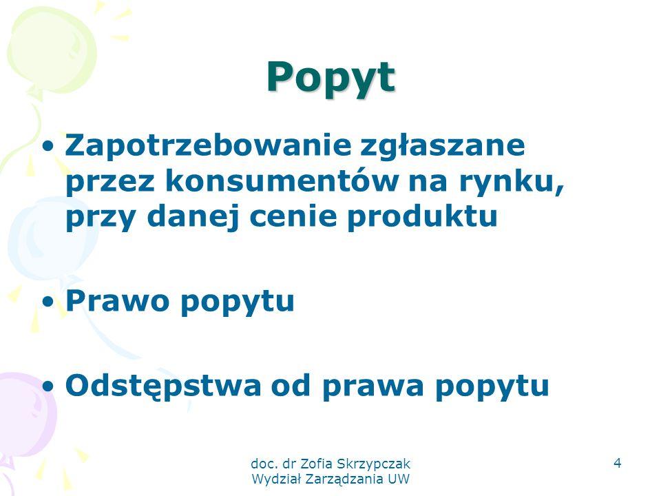doc. dr Zofia Skrzypczak Wydział Zarządzania UW 4 Popyt Zapotrzebowanie zgłaszane przez konsumentów na rynku, przy danej cenie produktu Prawo popytu O