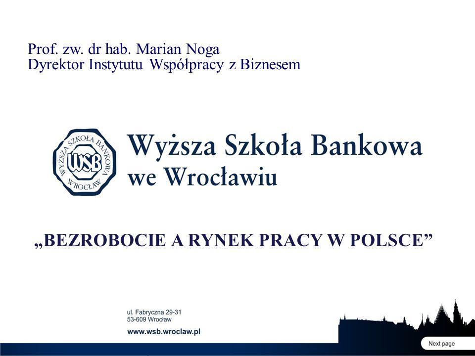 """Prof. zw. dr hab. Marian Noga Dyrektor Instytutu Współpracy z Biznesem """"BEZROBOCIE A RYNEK PRACY W POLSCE"""""""
