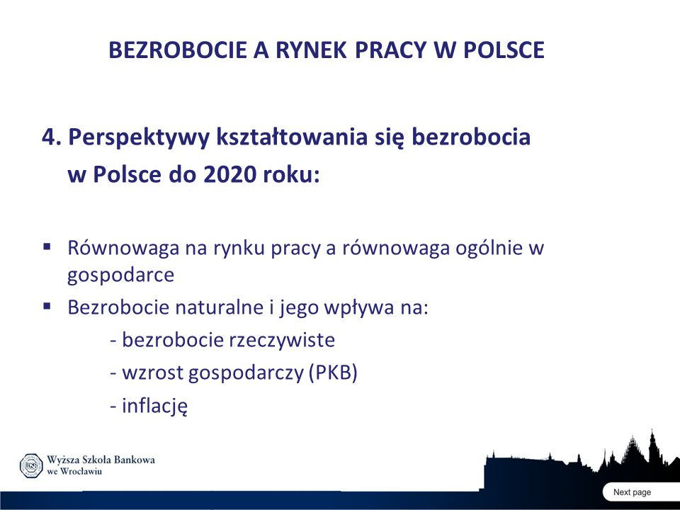 4. Perspektywy kształtowania się bezrobocia w Polsce do 2020 roku:  Równowaga na rynku pracy a równowaga ogólnie w gospodarce  Bezrobocie naturalne