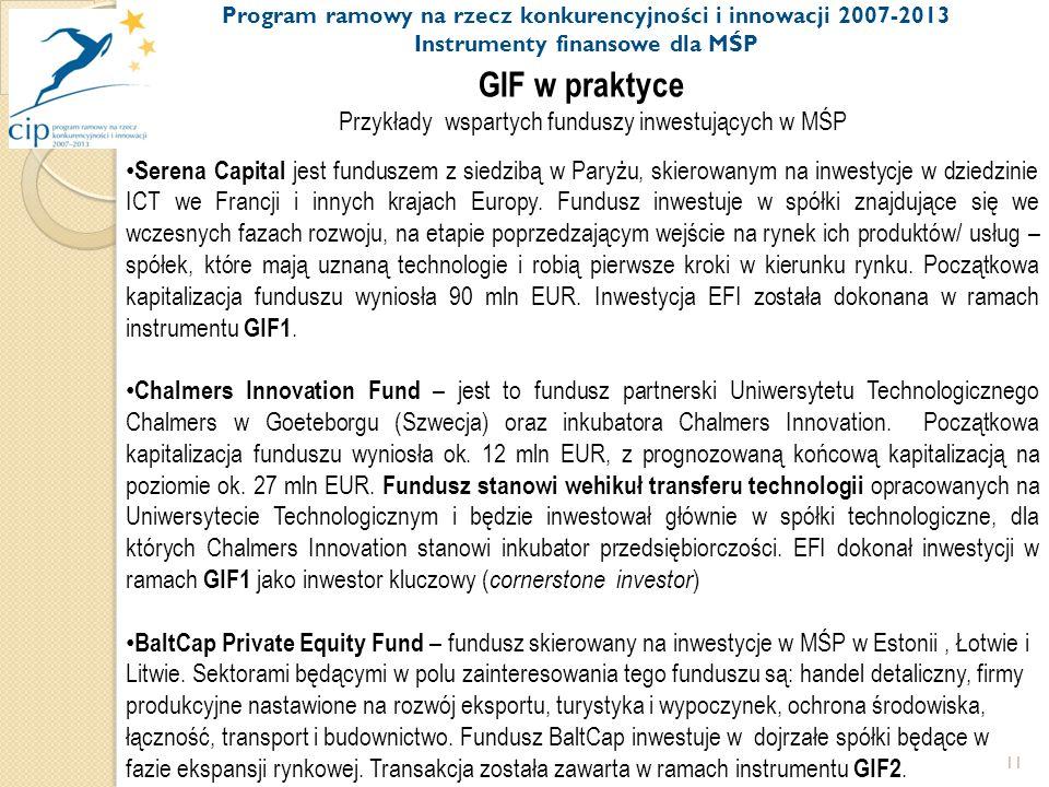 11 GIF w praktyce Przykłady wspartych funduszy inwestujących w MŚP Serena Capital jest funduszem z siedzibą w Paryżu, skierowanym na inwestycje w dziedzinie ICT we Francji i innych krajach Europy.