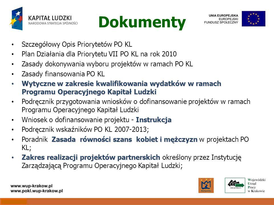 Dokumenty Szczegółowy Opis Priorytetów PO KL Plan Działania dla Priorytetu VII PO KL na rok 2010 Zasady dokonywania wyboru projektów w ramach PO KL Zasady finansowania PO KL Wytyczne w zakresie kwalifikowania wydatków w ramach Programu Operacyjnego Kapitał Ludzki Wytyczne w zakresie kwalifikowania wydatków w ramach Programu Operacyjnego Kapitał Ludzki Podręcznik przygotowania wniosków o dofinansowanie projektów w ramach Programu Operacyjnego Kapitał Ludzki Instrukcja Wniosek o dofinansowanie projektu - Instrukcja Podręcznik wskaźników PO KL 2007-2013; Zasada równości szans kobiet i mężczyzn Poradnik Zasada równości szans kobiet i mężczyzn w projektach PO KL; Zakres realizacji projektów partnerskich Zakres realizacji projektów partnerskich określony przez Instytucję Zarządzającą Programu Operacyjnego Kapitał Ludzki;