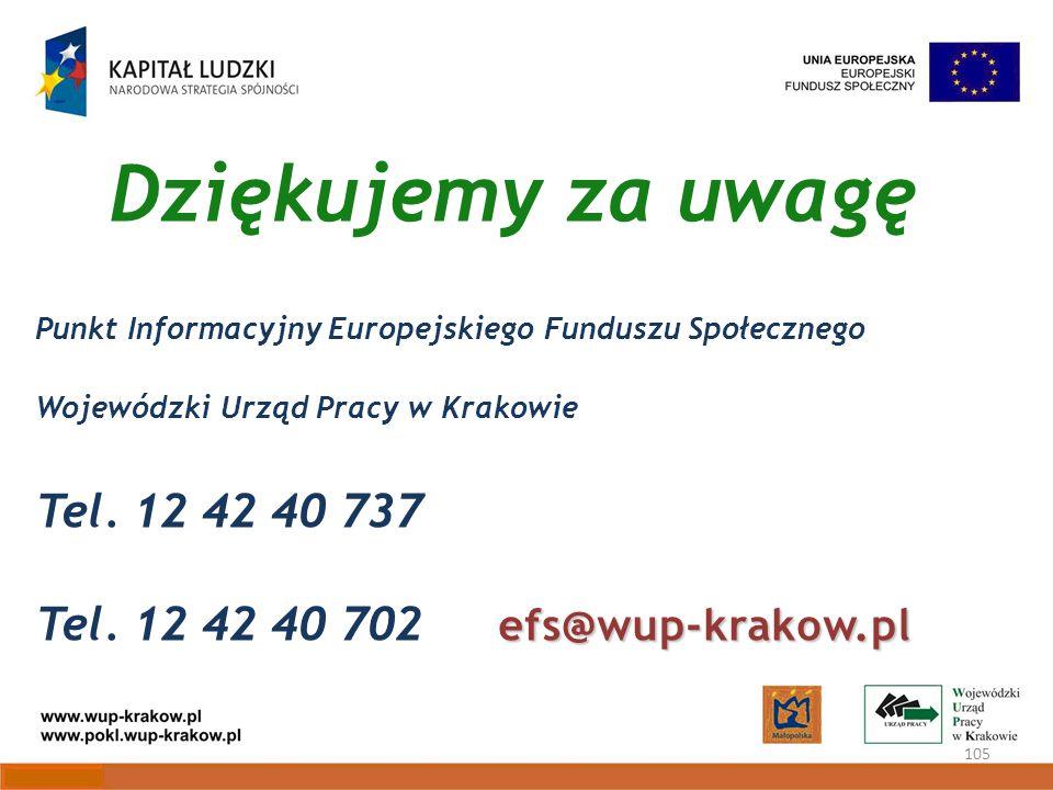 Dziękujemy za uwagę 105 Punkt Informacyjny Europejskiego Funduszu Społecznego Wojewódzki Urząd Pracy w Krakowie Tel.