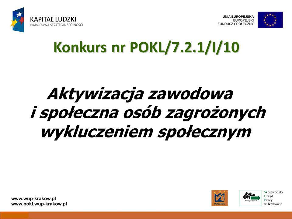 Aktywizacja zawodowa i społeczna osób zagrożonych wykluczeniem społecznym Konkurs nr POKL/7.2.1/I/10