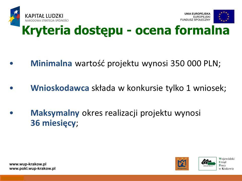 Kryteria dostępu - ocena formalna Minimalna wartość projektu wynosi 350 000 PLN; Wnioskodawca składa w konkursie tylko 1 wniosek; Maksymalny okres realizacji projektu wynosi 36 miesięcy;