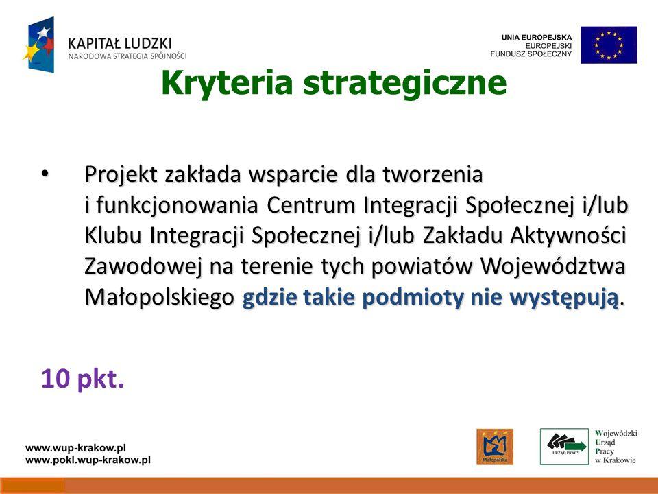 Kryteria strategiczne Projekt zakłada wsparcie dla tworzenia i funkcjonowania Centrum Integracji Społecznej i/lub Klubu Integracji Społecznej i/lub Zakładu Aktywności Zawodowej na terenie tych powiatów Województwa Małopolskiego gdzie takie podmioty nie występują.