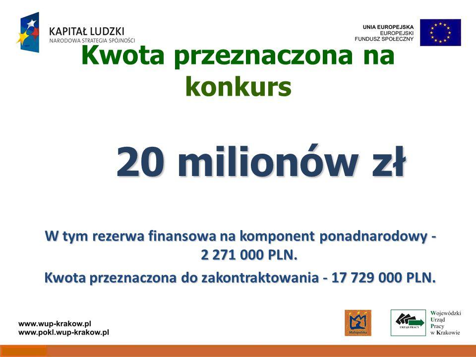 Kwota przeznaczona na konkurs W tym rezerwa finansowa na komponent ponadnarodowy - 2 271 000 PLN.