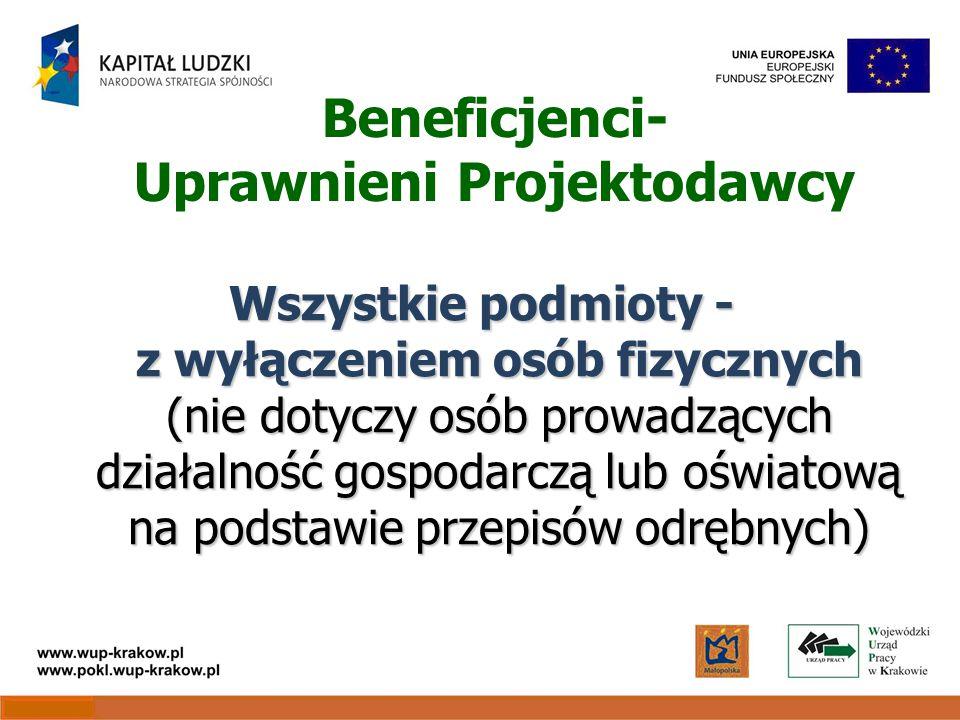 Beneficjenci- Uprawnieni Projektodawcy Wszystkie podmioty - z wyłączeniem osób fizycznych (nie dotyczy osób prowadzących działalność gospodarczą lub oświatową na podstawie przepisów odrębnych)