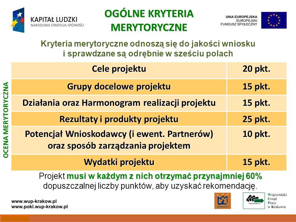 Cele projektu 20 pkt. Grupy docelowe projektu 15 pkt.