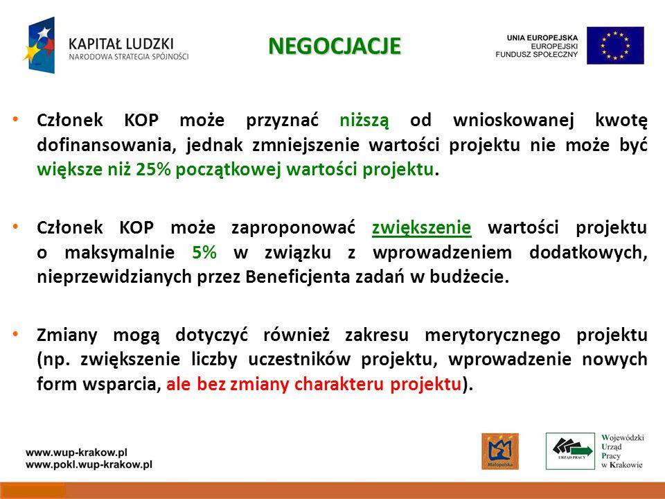 Członek KOP może przyznać niższą od wnioskowanej kwotę dofinansowania, jednak zmniejszenie wartości projektu nie może być większe niż 25% początkowej wartości projektu.
