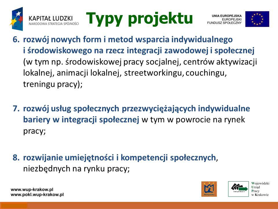 Typy projektu 6.rozwój nowych form i metod wsparcia indywidualnego i środowiskowego na rzecz integracji zawodowej i społecznej (w tym np.