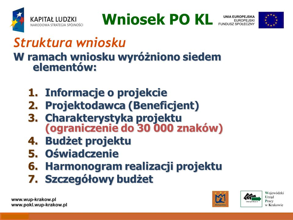 Wniosek PO KL Struktura wniosku W ramach wniosku wyróżniono siedem elementów: 1.Informacje o projekcie 2.Projektodawca (Beneficjent) 3.Charakterystyka projektu (ograniczenie do 30 000 znaków) 4.Budżet projektu 5.Oświadczenie 6.Harmonogram realizacji projektu 7.Szczegółowy budżet