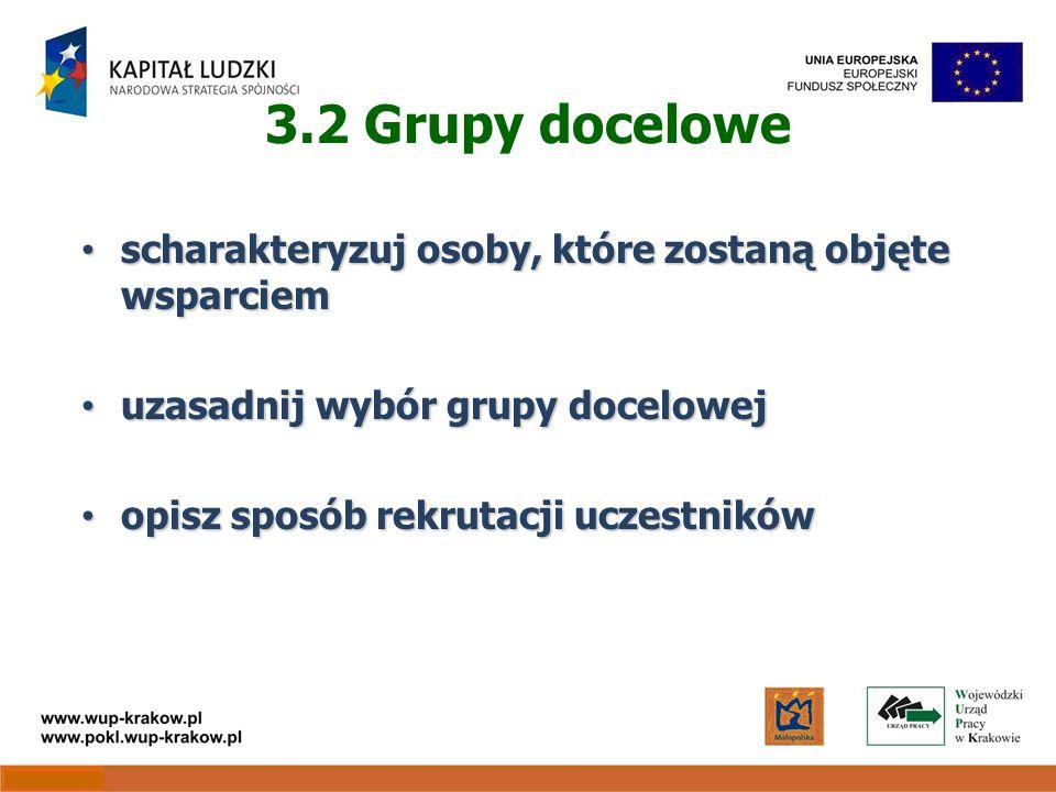 3.2 Grupy docelowe scharakteryzuj osoby, które zostaną objęte wsparciem scharakteryzuj osoby, które zostaną objęte wsparciem uzasadnij wybór grupy docelowej uzasadnij wybór grupy docelowej opisz sposób rekrutacji uczestników opisz sposób rekrutacji uczestników