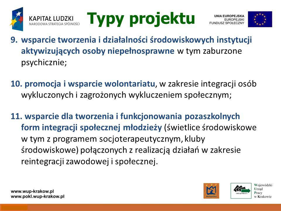 Typy projektu 9.wsparcie tworzenia i działalności środowiskowych instytucji aktywizujących osoby niepełnosprawne w tym zaburzone psychicznie; 10.