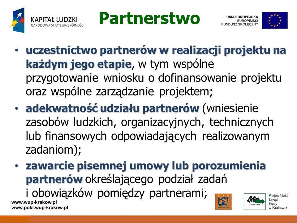 Partnerstwo uczestnictwo partnerów w realizacji projektu na każdym jego etapie uczestnictwo partnerów w realizacji projektu na każdym jego etapie, w tym wspólne przygotowanie wniosku o dofinansowanie projektu oraz wspólne zarządzanie projektem; adekwatność udziału partnerów adekwatność udziału partnerów (wniesienie zasobów ludzkich, organizacyjnych, technicznych lub finansowych odpowiadających realizowanym zadaniom); zawarcie pisemnej umowy lub porozumienia partnerów zawarcie pisemnej umowy lub porozumienia partnerów określającego podział zadań i obowiązków pomiędzy partnerami;