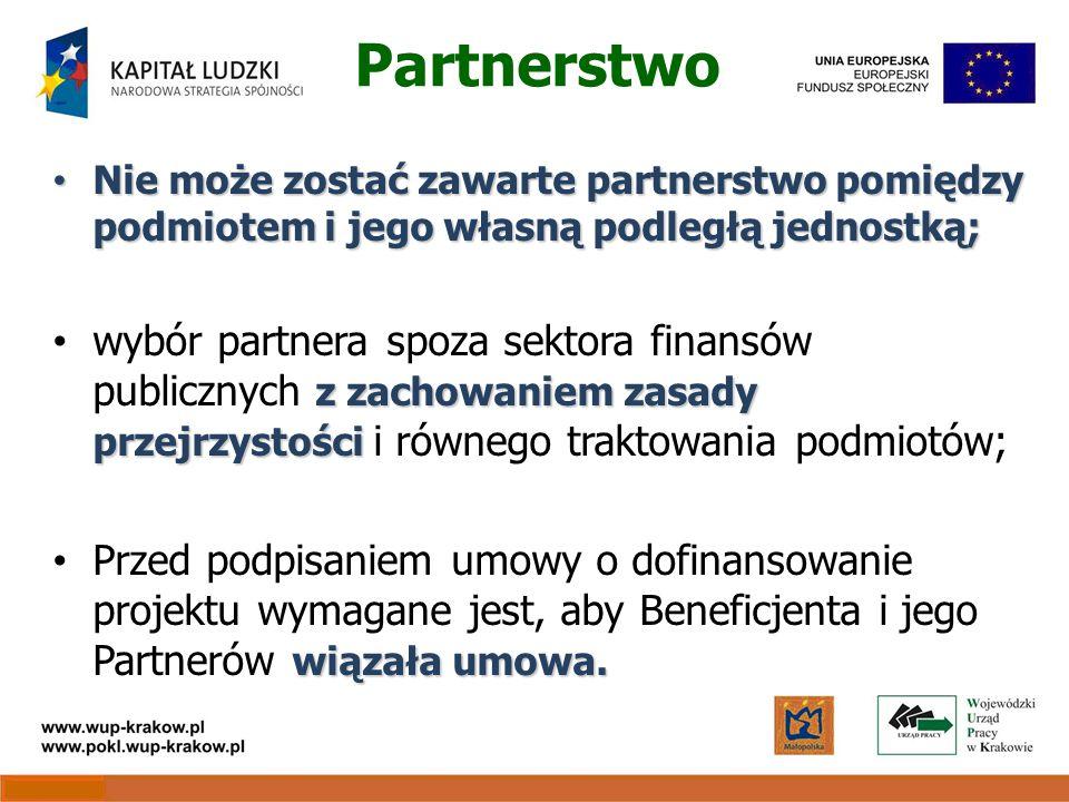 Partnerstwo Nie może zostać zawarte partnerstwo pomiędzy podmiotem i jego własną podległą jednostką; Nie może zostać zawarte partnerstwo pomiędzy podmiotem i jego własną podległą jednostką; z zachowaniem zasady przejrzystości wybór partnera spoza sektora finansów publicznych z zachowaniem zasady przejrzystości i równego traktowania podmiotów; wiązała umowa.