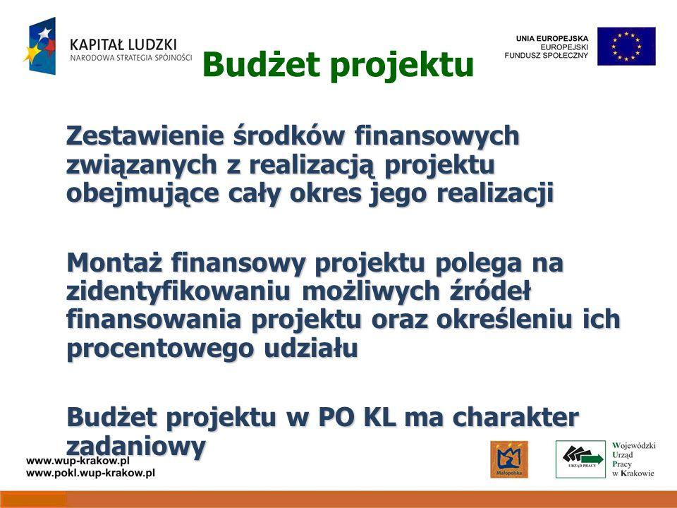 Budżet projektu Zestawienie środków finansowych związanych z realizacją projektu obejmujące cały okres jego realizacji Montaż finansowy projektu polega na zidentyfikowaniu możliwych źródeł finansowania projektu oraz określeniu ich procentowego udziału Budżet projektu w PO KL ma charakter zadaniowy